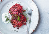 Beetroot and carrot fritters with dill and yogurt sauce