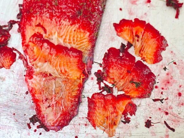 Beetroot-cured gravlax