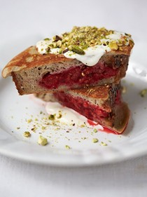 Berry pocket eggy bread, pistachios, yoghurt, honey & cinnamon