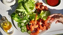 Bibb lettuce wraps with sambal shrimp