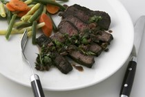 Bison steaks with cacao nib sauce