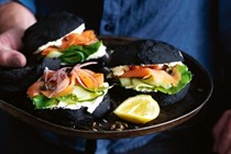 Black buns with smoked trout