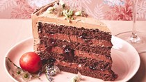Black Forest layer cake with cherry preserves