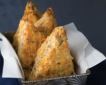 Black pepper, cheddar, and pecan scones