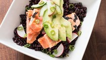 Black rice bowls with salmon