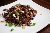 Black rice with eggs, tofu and mushrooms