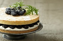 Blackberry & rose geranium cake