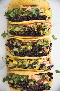 Blackened salmon tacos with forbidden rice & mango guacamole
