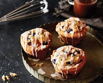 Blueberry-cornmeal muffins with thyme glaze