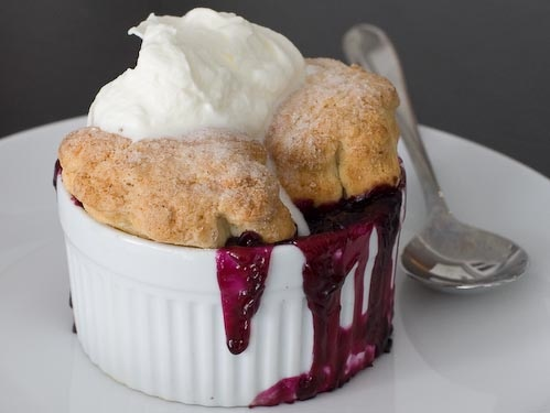 Blueberry cream cobbler