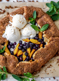 Blueberry peach galette with cinnamon sugar crust