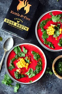 Bone broth gazpacho with cilantro chimichurri