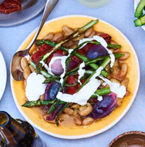 Borlotti beans and grilled vegetables with whipped feta