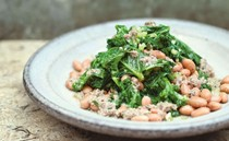 Borlotti beans and kale with anchovy and rosemary sauce