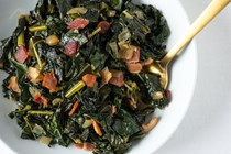 Braised bacon and kale