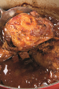 Braised chicken thighs, coq au vin style