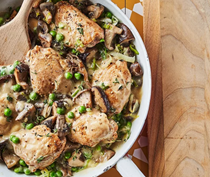 Braised chicken with mushrooms & leeks