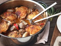 Braised chicken with sausage and peppers (Chicken scarpariello)