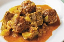 Braised meatballs with artichokes and fennel