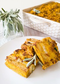 Breakfast casserole with butternut squash and kale