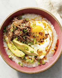 Breakfast congee with egg, avocado, and scallion (Jook)