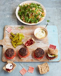 British burgers, shred salad, pickles & things