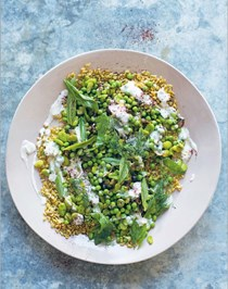 Broad bean & pea salad with freekah & yoghurt sauce