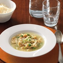 Broccoli and celery root soup with fresh chickpea straccetti (Minestra di broccoli e sedano rapa con straccetti ai ceci)
