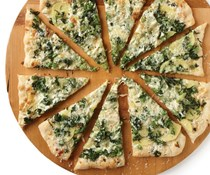 Broccoli rabe and potato pizza