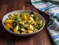 Broiled summer squash in agrodolce with corn and avocado