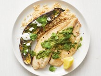 Broiled tilapia and eggplant with Moroccan pesto