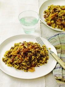 Brown rice and lentils with caramelized onions