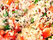 Brown rice, tomatoes & basil