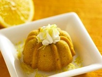 Brown sugar and cornmeal bundt cakes with honey whipped cream