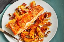 Brown sugar-glazed salmon with buttery roasted squash