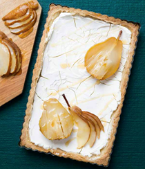 Brown sugar pear and rosemary goat cheese tart