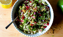 Brussels sprouts, apple and pomegranate salad