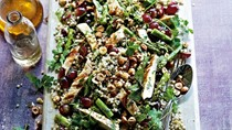 Buckwheat, chicken and grape salad with hazelnuts