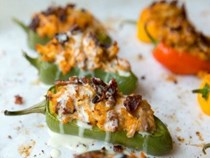 Buffalo ranch chicken-stuffed jalapeños with bacon