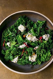 Burnt spring onion dip with curly kale