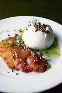 Burrata with blood orange, coriander seeds and lavender oil