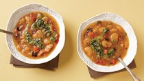 Butter-bean minestrone with basil pistou