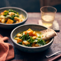 Butterbean, squash and kale stew