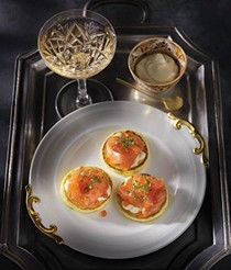 Buttermilk blinis with smoked salmon and horseradish cream