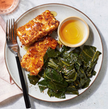 Buttermilk fried tofu with smoky collards