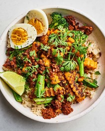 Butternut squash and broccolini rice bowl with soy chorizo