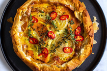 Butternut squash and fondue pie with pickled red chiles