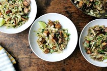 Cabbage pad Thai with baked tofu