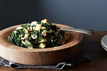 Caesar-style kale salad with roasted onions