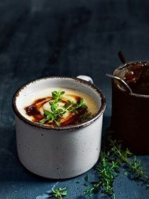 Caramelised onion, bay leaf and milk soup
